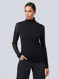 Pullover mit semitransparenten Ärmeln