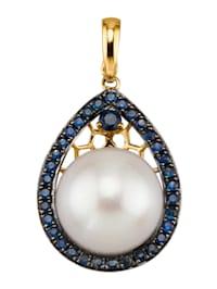 Pendentif clip avec perle de culture des mers du Sud et saphirs