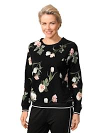 Sweatshirt mit fotorealistischem Blumen-Druck