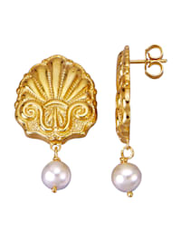 Boucles d'oreilles avec 2 perles de culture d'eau douce blanches