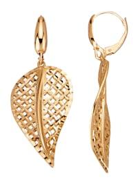 Boucles d'oreilles -Feuilles- en or jaune 585