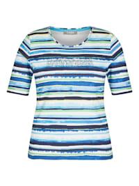 Shirt mit gestreiftem Muster und Strass-Steinen