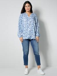 Tunika-Bluse allover floral bedruckt