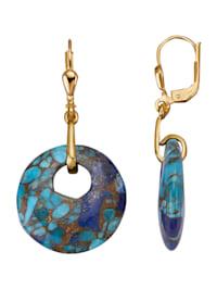 Boucles d'oreilles avec turquoise, lapis-lazuli et cuivre