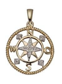 Hänge i kompassdesign med diamanter