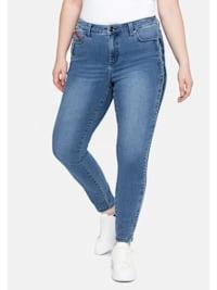 Jeans in Knöchlänge, mit seitlichem Tape