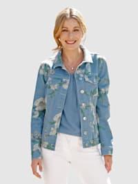 Džínsová bunda s kvetinovou potlačou