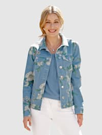 Jeansjacke mit floralem Druck