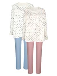 Pyjama's per 2 stuks met fraaie contrasten en bloemendessin