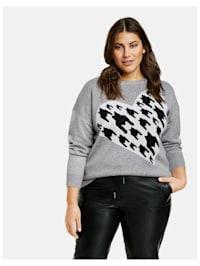 Pullover mit Hahnentritt-Herz