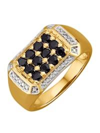 Herenring met zwarte diamanten