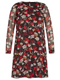 Kleid mit herbstlichem Blumenprint und Lagenlook