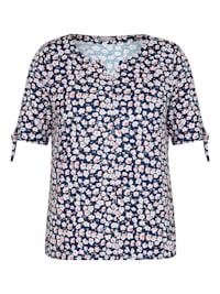 Shirt mit geblümtem Allover-Muster und Bindebändern