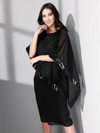 Robe en voile à empiècement asymétrique orné de paillettes