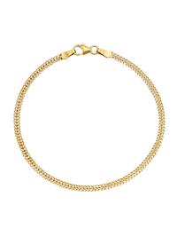 Bracelet maille gourmette double en or jaune massif 375