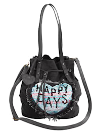 Handbag with contemporary flip sequins