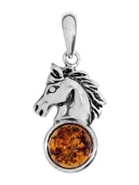 Anhänger - Pferdekopf - Silber 925/000 - Bernstein