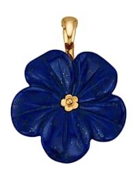 Blüten-Clip-Anhänger mit gravierter Lapislazuli-Blüte