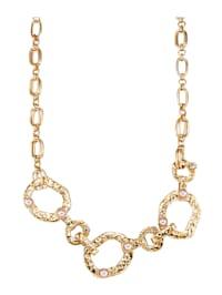 Halsband med vita glaspärlor