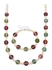 Parure de bijoux 2 pièces à perles de cristal