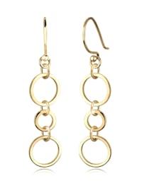 Ohrringe Ringe Kreise Geo Elegant Filigran Silber Vergoldet
