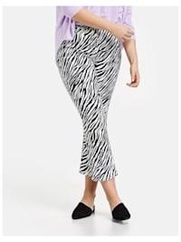 7/8 Bootcut Hose mit Zebra-Print Organic Cotton