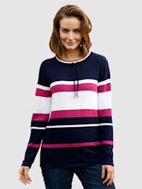Pullover mit kleinem Stehkragen mit Bindeband