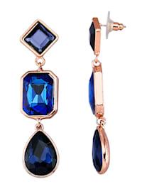 Náušnice s modrými skleněnými kamínky
