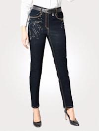 Jeans met bloemmotief van strassteentjes
