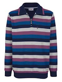 Sweatshirt med garnfärgade ränder