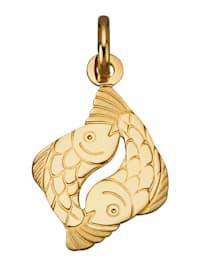 Sternzeichen-Anhänger 'Fische' in Gelbgold 750