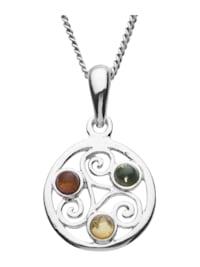 Kette mit Anhänger - Keltische Fibel - Silber 925/000 - Bernstein