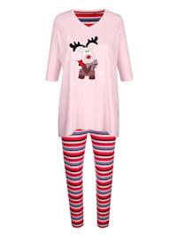 Schlafanzug mit hübschem Zipfelsaum