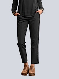 Nohavice s kontrastnými galónovými pruhmi na boku