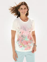 Shirt met multicolorsiersteentjes