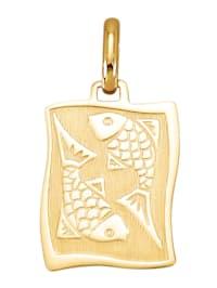 Pendentif avec signe du zodiaque Poissons en or jaune 585