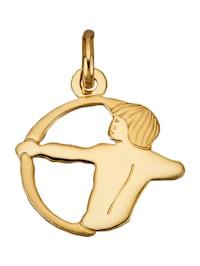 """Pendentif avec signe du zodiaque """"Sagittaire"""" en or jaune 750"""