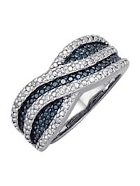 Damesring met blauwe en witte diamanten