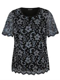Shirt met kant in twee kleuren