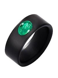 Onyx-Ring mit Smaragd