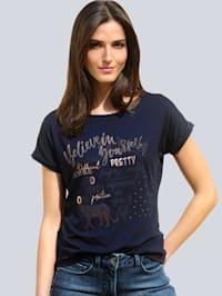 Shirt mit Folienprint im Vorderteil