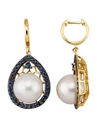 Boucles d'oreilles avec perles de culture des mers du Sud et saphirs