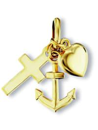 Damen Schmuck Anhänger Glaube Liebe Hoffnung aus 333 Gelbgold