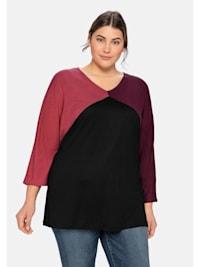 3/4-Arm-Shirt im Colourblocking-Stil