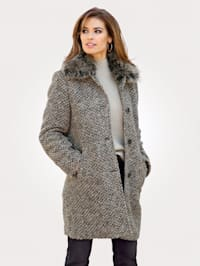 Wool-blend coat with a faux fur collar