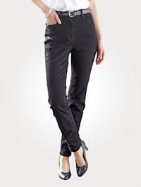 Jeans mit toniger Blüten-Stickerei