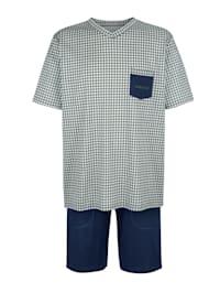 Krátke pyžamo z mercerizovanej bavlny