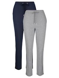 Sportovní kalhoty, 2kusy s módním lurexovým pásem