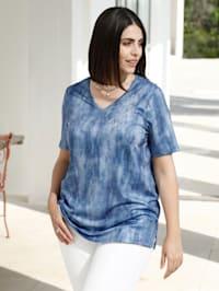Shirt met jeansprint