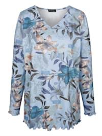 T-shirt en maille fine à motif floral